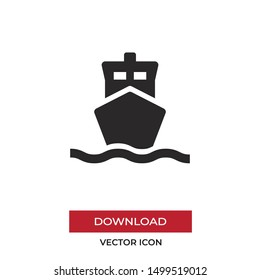 Sailing ship vector icon in modern style for web site and mobile app