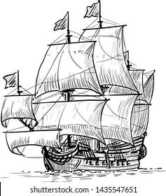 Sailing Ship vintage frigate on the waves. Hand drawn vector illustration. Hand sketch. Illustration.