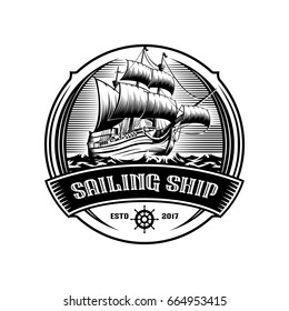 Sailing ship vintage illustration on logo badge