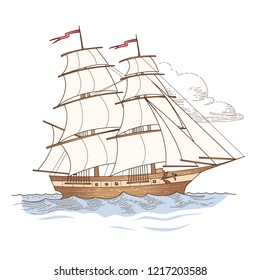 Sailing ship at vintage style. Vector illustration isolated on white background