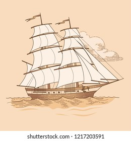 Sailing ship in vintage style. Vector illustration on beige background