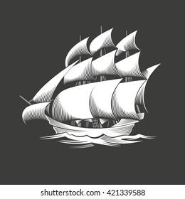 Sailing ship. Vintage vessel. White silhouette on black background. Vector