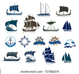 Sailing Ships Silhouettes And Marine Emblems