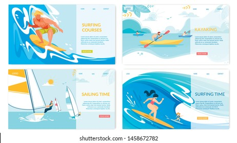 Sailing, Surfing, Kayaking Water Sport Activities Horizontal Banners Set, Summer Time Water Competition, Outdoors Sports Recreation, Active Lifestyle, Extreme Sport Cartoon Flat Vector Illustration