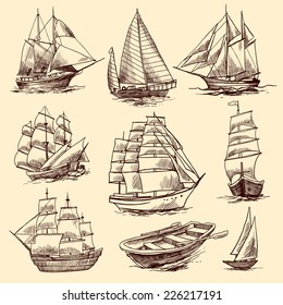 Sailing tall ships yachts and boat sketch decorative elements isolated vector illustration