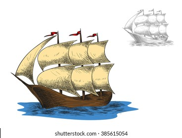 Sailing vacation or nautical history sketch with antique three masted barque sailing ship among blue sea