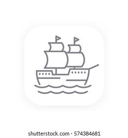 sailing vessel, old ship line icon