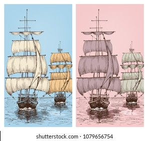 Sailing wallpapers or sailboats retro design for phone cases, labels etc