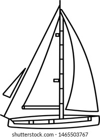 Sailing yacht icon in outline style. Coloring template for modification and customizing  according to a specific task.