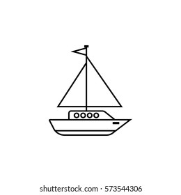 Sailing yacht line icon, travel & tourism, boat and ship, a linear pattern on a white background, eps 10.