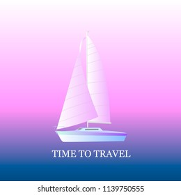 Sailing yacht on a sunset background. Travel