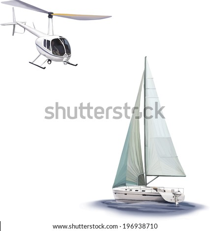Sailing Yacht Race Angled White Helicopter Stock Vector Royalty