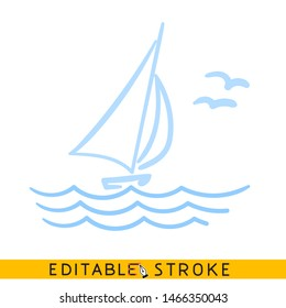 Sailing yacht in the sea icon. Line doodle sketch. Editable stroke icon.