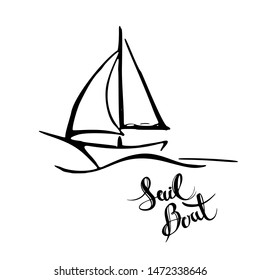 Sailing yacht in the sea icon. Line doodle sketch. Editable stroke icon.
