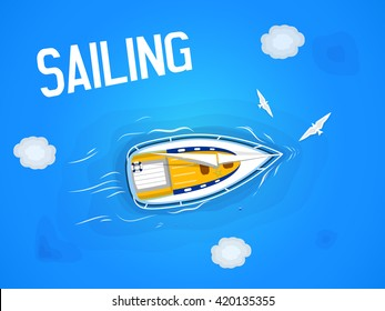 Sailing. Yacht in the sea. Top view through the clouds on a white yacht sailing, floating on the waves of the sea. Vector illustration