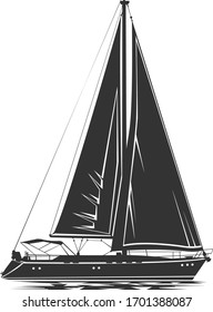 Sailing yacht vector silhouette. Symbol of a sea regatta. Isolated on a transparent background.