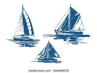 Sailing yachts bundle hand-drawn ink sketch. Set of vector ships