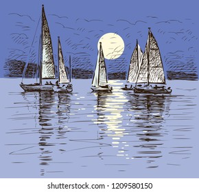 Sailing yachts on a lake on a moonlit night