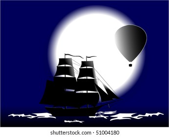 sailing-vessel and balloon in moon night
