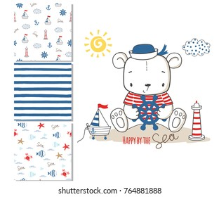Sailor bear. Surface design and 3 seamless patterns. Graphic for kid's clothing. Use for print, t shirt  template, fashion wear