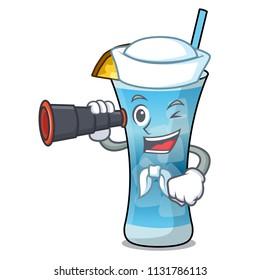 Sailor with binocular blue hawaii mascot cartoon