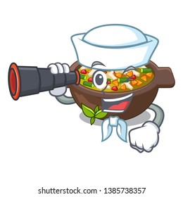 Sailor with binocular fried minestrone in the cup character