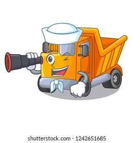 Sailor with binocular Truck on highway road with mascot