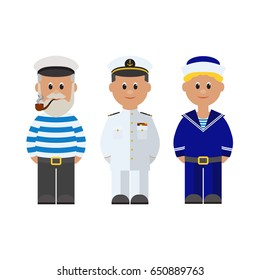 Sailor, Captain of the ship, Boatswain. Set of cartoon flat characters. Vector illustration isolated on white background.