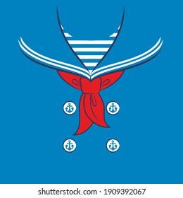 Sailor collar. Vector illustration for kids t shirt.