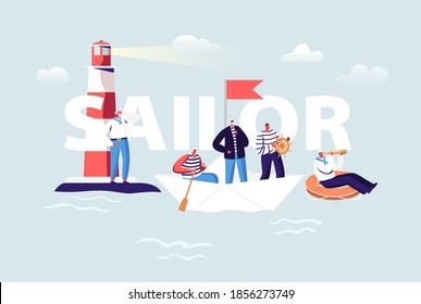 Sailor Concept. Ship Crew Male Characters in Uniform. Captain, Sailors in Stripped Vest at Steering Wheel and Life Buoy. Maritime Job Occupation Poster Banner Flyer. Cartoon People Vector Illustration