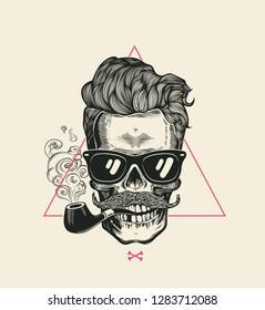 Sailor Cool Skull Smoke Pipe Vector T-Shirt Print. Modern Mustache Skeleton Face in Sunglasses. Urban Style Hair Geometric Poster. Monochrome Hipster Head Black Silhouette.