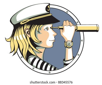 Sailor girl with spyglass