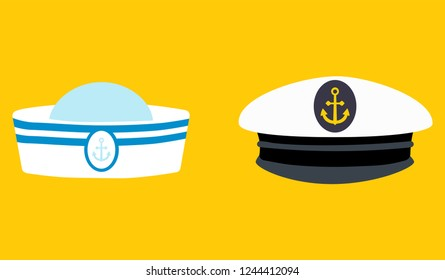 Sailor hat set, marine captain clothing.Concept for websites, web banner. Flat design vector illustration. EPS10