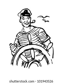 Sailor At The Helm - Retro Clipart Illustration