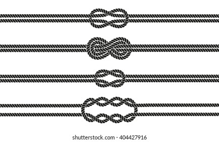 Sailor knot dividers set. Nautical infinity sign. Rope border. Tying the knot. Graphic design element for wedding invitations, baby shower, birthday card, scrapbooking etc