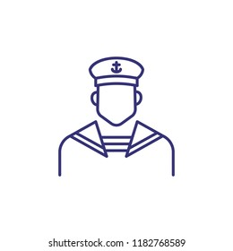 Sailor line icon. Navy man, seaman, mariner. Occupation concept. Can be used for topics like voyage, sailing, navigation