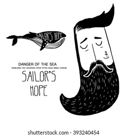 sailor men with whale illustration for clothing