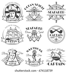 Sailor naval vector vintage label, badge, or emblem in monochrome style. Ocean spirit, Nautical heritage, Born free, Sailor naval, Captain.