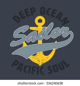 sailor pacific soul graphic for apparel,tee design,vector illustration
