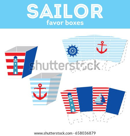 sailor party popcorn box template stock vector royalty free