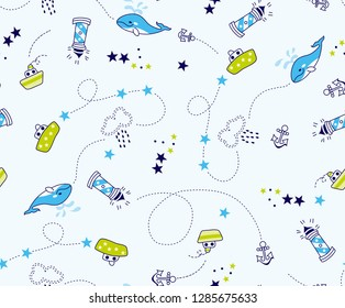 Sailor pattern ships and whales For kids and babies t-shirt pajamas prints