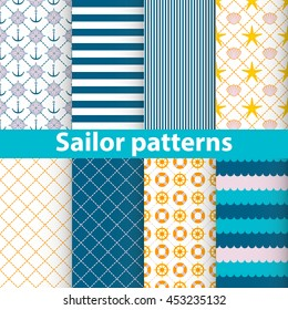Sailor patterns set. Vector seamless patterns in sea theme for cards and invitations. Anchor seamless pattern. Striped pattern. Wave pattern. Blue and yellow simple Nautical pattern.