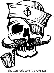 sailor skull hand drawn vector