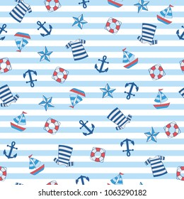 Sailor stripe nautical with boat, anchor, float, shirt. A playful, modern, and flexible pattern for brand who has cute and fun style. Repeated pattern. Happy, bright, and nautical mood. Suits for kids