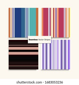 Sailor Stripes Seamless Texture Set. Summer Spring Elegant Fashion Fabric. Childrens Female Male Seamless Stripes Design. Funky Fashion Background Vintage Lines Endless Pattern. Training Suit Lines