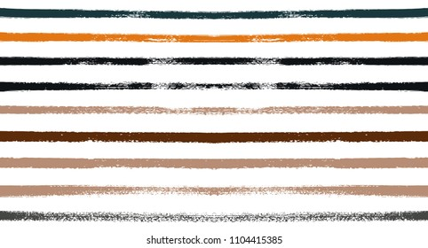Sailor Stripes Seamless Vector Summer Pattern. Autumn Color Brown, Orange, Blue, Red, Grey, White, Ocher Stripes. Hipster Vintage Retro Textile Design. Creative Horizontal Banner. Old Style Watercolor