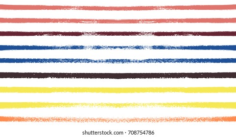 Sailor Stripes Seamless Vector Summer Pattern. Autumn Colors Yellow, Orange, Pink, Purple, Grey, White Stripes. Hipster Vintage Retro Textile Design. Creative Horizontal Banner. Watercolor Prints.