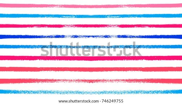Sailor Stripes Seamless Vector Summer Pattern. Autumn Colors Blue, Turquoise, Pink, Purple, Grey, White Stripes. Hipster Vintage Retro Textile Design. Creative Horizontal Banner. Watercolor Prints.