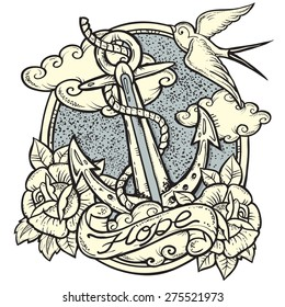 Sailor tattoo-art design. New traditional tattoo style. Hand-drawn vector image. Good for printing on t-shirt. Easy to edit. EPS8 file. Vintage colors.