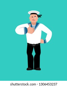 Sailor thumbs up and winks. Russian soldier seafarer happy emoji. Seaman Military in Russia Joyful. Illustration for 23 February. Defender of Fatherland Day. Army holiday for Russian Federation